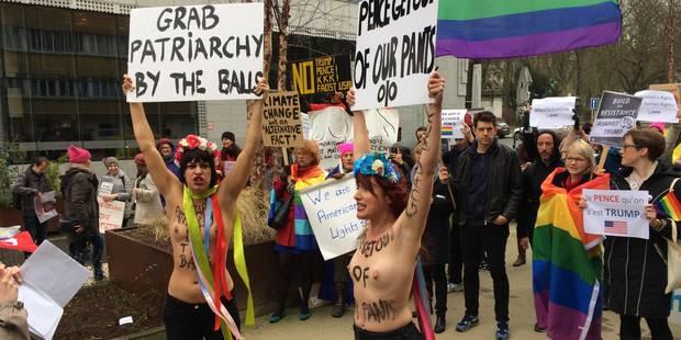 """Manifestation contre Pence à Bruxelles : """"L'amour est plus fort que la haine"""" - La Libre"""