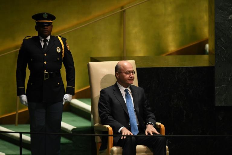 Le président irakien Barham Saleh lors de l'assemblée générale des Nations unies, le 25 septembre 2019 à New York