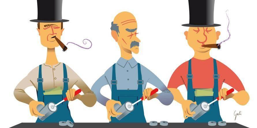 Capitalistes en bleu de travail