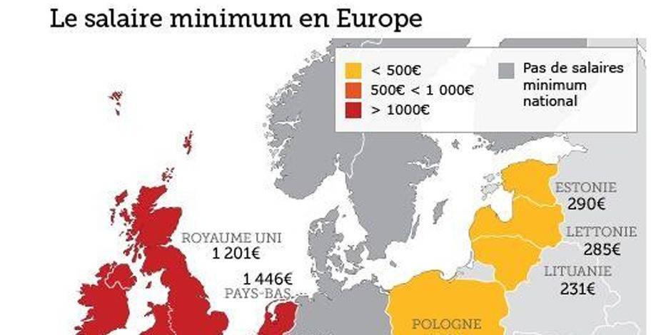 La carte d'Europe du salaire minimum