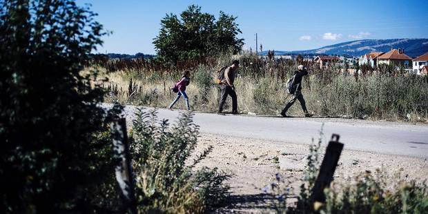 Migrants walk on a road near the southern Serbian town of Presevo, near the border with Macedonia, on July 15, 2015. Migrants cross Serbia to join other European countries, as it has land borders with three EU countries - Romania, Hungary and Croatia. The estimated number of people crossing the Serbia-Hungary border has increased more than 25-fold, rising from 2,370 to 60,602 according to an Amnesty International report. AFP PHOTO/DIMITAR DILKOFF