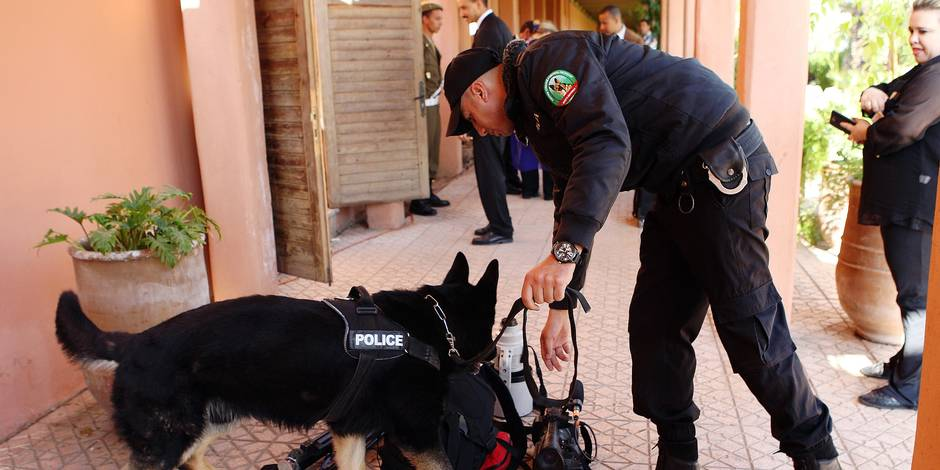 A police officer checks cameras with a snifer dog at the entrance of the Clinton Global Initiative Middle East & Africa meeting in Marrakech, Morocco, Wednesday May 6, 2015. Bill Clinton has largely stayed on the sidelines during the early weeks of his wife's presidential bid, opting to focus on his foundation work instead of visiting early primary states with his wife. (AP Photo/Abdeljalil Bounhar)