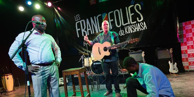 20150907 - KINSHASA, CONGO: Belgian singer Philipope Lafontaine performs on podium during the opening of the first musical festival 'Les Francofolies de Kinshasa' on the first day of a diplomatic visit of Walloon Minister in Kinshasa, DRC Congo, Monday 07 September 2015. BELGA PHOTO BENOIT DOPPAGNE