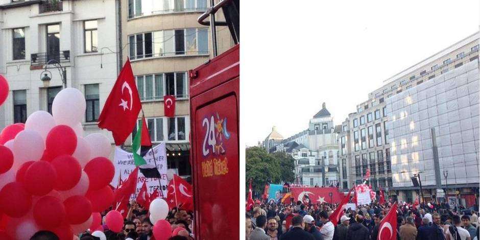 Environ 3.000 Belgo-turcs ont accueilli le président Erdogan à Bruxelles