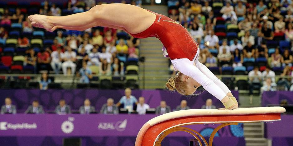 20150618 - BAKU, AZERBAIJAN: Belgian gymnast Gaelle Mys pictured in action during the final all-arounds at the artistic gymnastics competition during the European Games 2015, in Baku, Azerbaijan, Thursday 18 June 2015. The European Games 2015 multi-sport event takes place from 12 to 28 June. BELGA PHOTO ERIC LALMAND