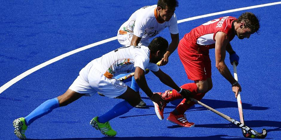 Belgian hockey player Sebastien Dockier pictured in action during the game between Belgium Red Lions and India, a quarter final game in the men's field hockey competition at 2016 Olympic Games, Sunday 14 August 2016, in Rio de Janeiro, Brazil. BELGA PHOTO ERIC LALMAND