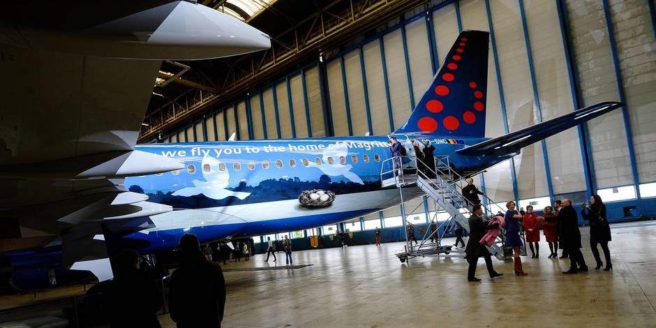- Brussels Airlines dévoile son avion dédié à Magritte - Voorstelling Magritte-vliegtuig van Brussels Airlines 21/3/2016 pict. by Christophe Licoppe © Photo News
