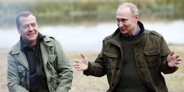 : Russia's Prime Minister Dmitry Medvedev (L) and Russia's President Vladimir Putin at Lake Ilmen, Novgorod Region, Russia on September 10, 2016. Photo by Dmitry Astakhov/Russian Presidential Press/TASS/ABACAPRESS.COM Reporters / Abaca