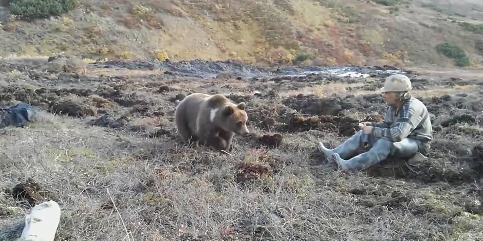 Un ours mange