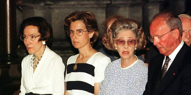 BRU - 31JUL99 - BRUSSELS - Queuen Fabiola attended a mass on the occasion of the 6th anniversary of the death of her husband , late King Baldwin , here this morningJuly 31th at the Laeken Royal Church . OPS - (L-R) Countess de Liedekercke, Lady Mercedes, Queen Fabiola and General Van Kerckhove . pic- BELGA - Herwig Vergult/ver