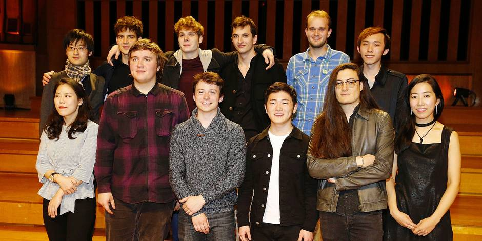 Illustration picture shows and the finalists pictured after the last semi final session of the Queen Elisabeth Piano Competition 2016 at the Brussels' Flagey, Saturday 20 May 2017. BELGA PHOTO NICOLAS MAETERLINCK