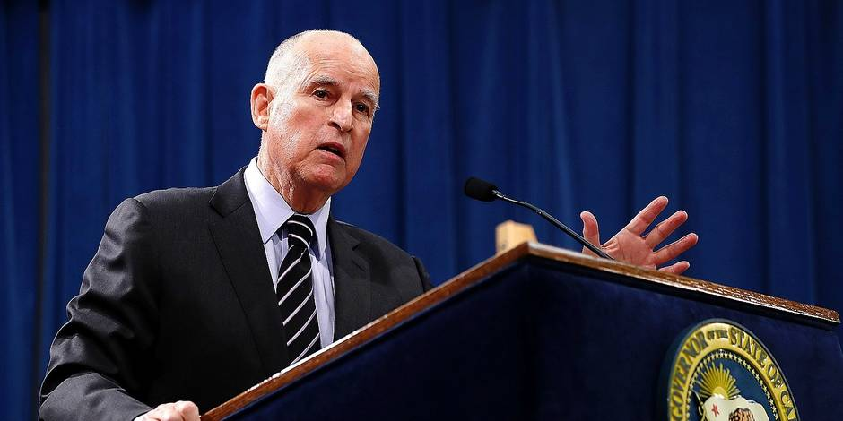 SACRAMENTO, CA - MAY 11: California Gov. Jerry Brown speaks to reporters during a news conference where he revealed his revised California State budget on May 11, 2017 in Sacramento, California. California Gov. Jerry Brown unveiled a revised, $180 billion budget proposal. Justin Sullivan/Getty Images/AFP == FOR NEWSPAPERS, INTERNET, TELCOS & TELEVISION USE ONLY ==