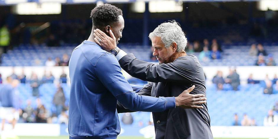 Romelu Lukaku greets Chelsea Manager Jose Mourinho during the pre match warm up ahead of the Barclay