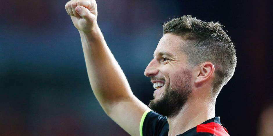 Belgium's Dries Mertens celebrates during a soccer between Belgian national soccer team Red Devils and Gibraltar, a World Cup 2018 qualification game in Group H, Thursday 31 August 2017 in Liege, Belgium. BELGA PHOTO BRUNO FAHY