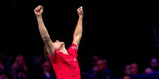 """Un solide Goffin s'impose en trois sets face à Tsonga en finale de Coupe Davis : """"Je suis fier de mon match"""" (7-6, 6-3, ..."""