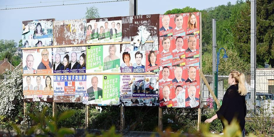 Brabant wallon : affiches électorales PS - MR - CDH - Ecolo - RWF - Parti Populaire