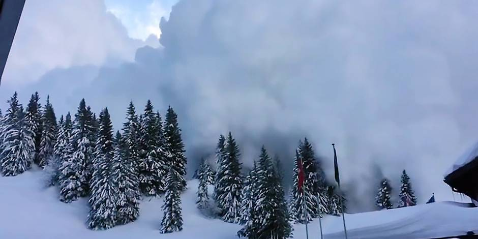 """Pics shows: The controlled avalanche at Les Diablerets in the Swiss canton of Vaud; This is the spectacular footage of two gigantic controlled avalanches clearing the ski slopes in famous Alpine resorts. According to a local daily, both videos are """"like a warning message for unwary skiers"""" as many parts of the Swiss Alps currently have an increased avalanche risk. One video shows the ski resort of Les Diablerets in the Swiss canton of Vaud, where a controlled avalanche took place last week. The video, taken from a cabin on a mountain slope, shows quaint Alpine scenery of snow-clad mountains, pine trees and almost perfect blue skies. From the far distance, an avalanche is however suddenly storming down from the slope, with huge clouds of white powder seen rising up in the air not dissimilar to a giant explosion. The avalanche at Les Diablerets was a so-called controlled avalanche which took place when nobody was on the slope. Ski area director Bernard Tschannen of Glacier 3000 said: """"Don't worry, even if the operation might have seemed impressive, everything was under control"""" """"What is really impressive is the amount of snow generated. But one has to know that the hard matter from the avalanche stops a lot higher up."""" In a controlled avalanche, experts study the snowpack by digging pits or analysing snow layers using radar technology. As local experts deemed the area at risk due to strong snowfall and high winds, they decided to preventively trigger an avalanche themselves using explosives after taking the necessary safety precautions. Besides the slope being cleared of all skiers, also a road was temporarily closed to make sure nobody would enter the area of the controlled avalanche. The highly controlled process is very common in Swiss ski resorts, with also another wintersports area posting the footage of their own controlled avalanche this week. The second video, from the town of Champex in the Swiss canton of Valais, shows how a controlled avalanche"""