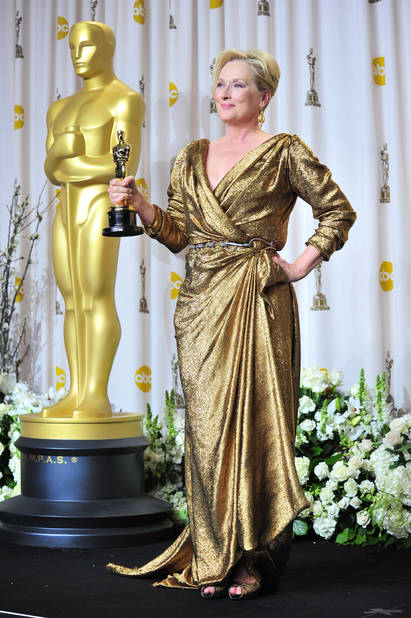 Golden                               Meryl Streep en                               Lanvin en 2012