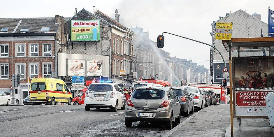 Illustration picture shows the scene of an explosion in the rue Gretry in Liege, Saturday 03 March 2018. A gas explosion occurred this afternoon on the second floor of a house in the rue Gretry in Liege, two people got injured. BELGA PHOTO SOPHIE KIP