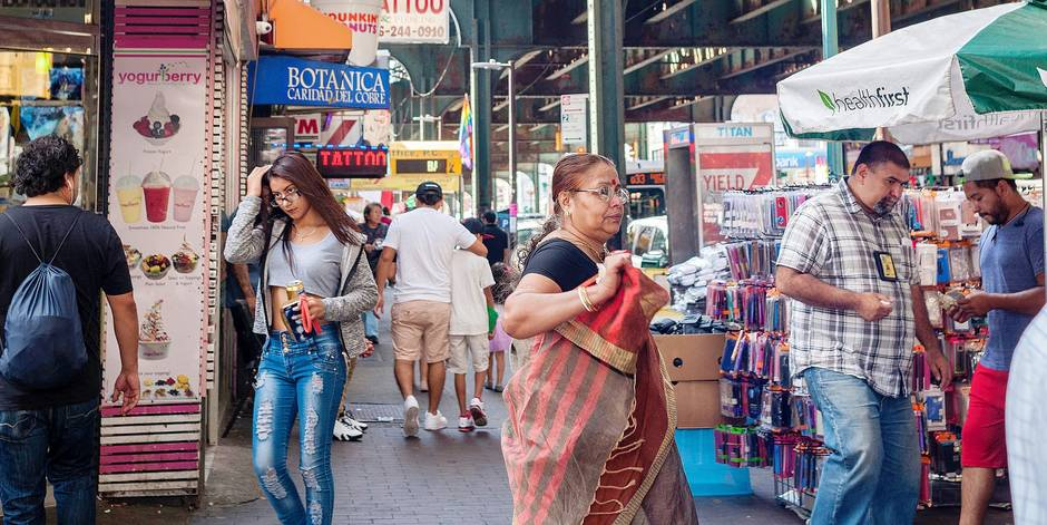 Businesses and activities under the elevated Number 7 train in the Jackson Heights neighborhood in Queens in New York on Saturday, September 17, 2016. The Jackson Heights neighborhood is home to a mosaic of ethnic groups beside Indians which include Pakistanis, Tibetans, Southeast Asian and long-time Jewish and Italian residents. (Â Richard B. Levine) Reporters / Photoshot