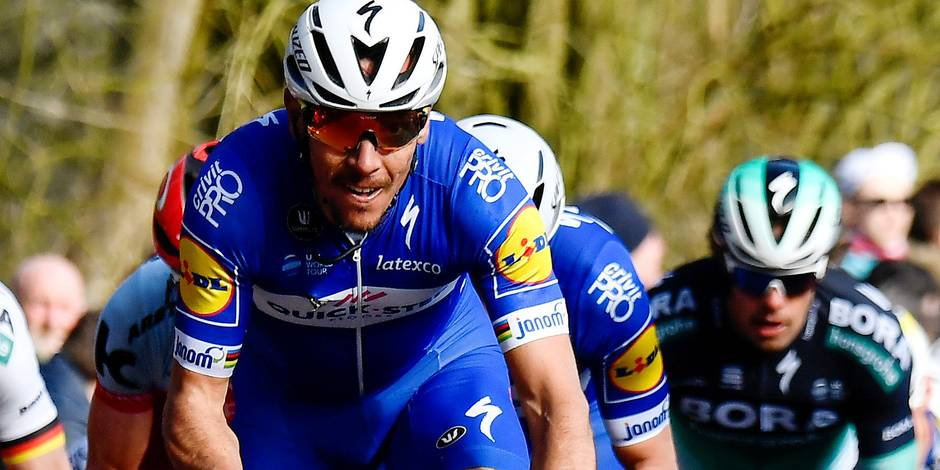Belgian Philippe Gilbert of Quick-Step Floors pictured in action during the 80th edition of the Gent-Wevelgem cycling race, 251,1 km from Deinze, near Gent, to Wevelgem, Sunday 25 March 2018. BELGA PHOTO DIRK WAEM