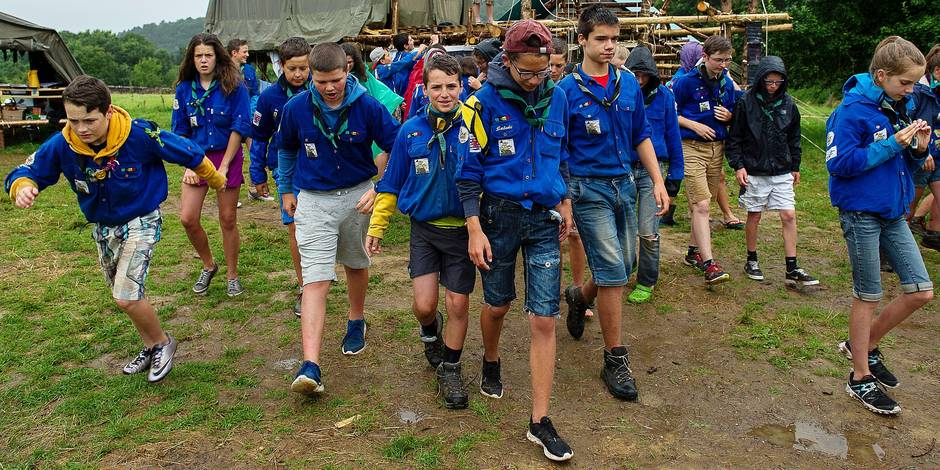 Mazee - 29 july 2016 Photo d'illustration - Illustration Picture Troupe d'eclaireurs en grand camp. A troop of scouts in camp in wallonia. Kamp van scouts Credit: JMQuinet/Reporters Reporters / QUINET