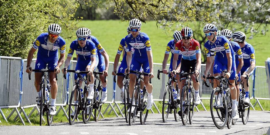Belgian Philippe Gilbert (L) and his teammates of Quick-Step Floors pictured in action during the track reconnaissance of next Sunday's Liege-Bastogne-Liege one day cycling race, Friday 20 April 2018 near Stavelot. BELGA PHOTO ERIC LALMAND